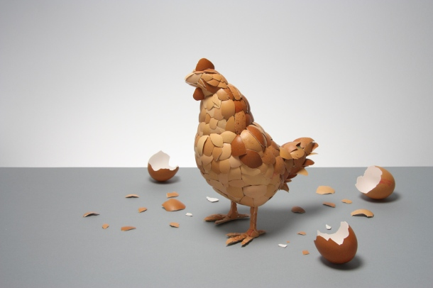 """What Came First?"" Chicken made from eggshells. Art and Image copyright Kyle Bean."