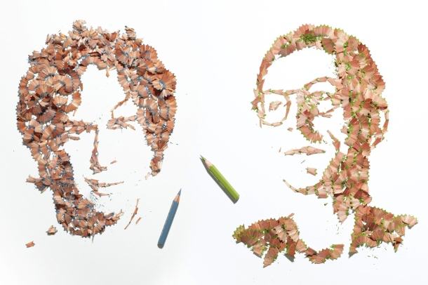 "Pencil Shaving Portraits 1. Art by Kyle Bean made for Wallpaper magazine's ""Handmade"" 2011.."