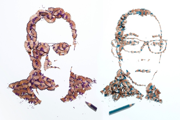 "Pencil Shaving Portraits 2. Art by Kyle Bean made for Wallpaper magazine's ""Handmade"" 2011.."