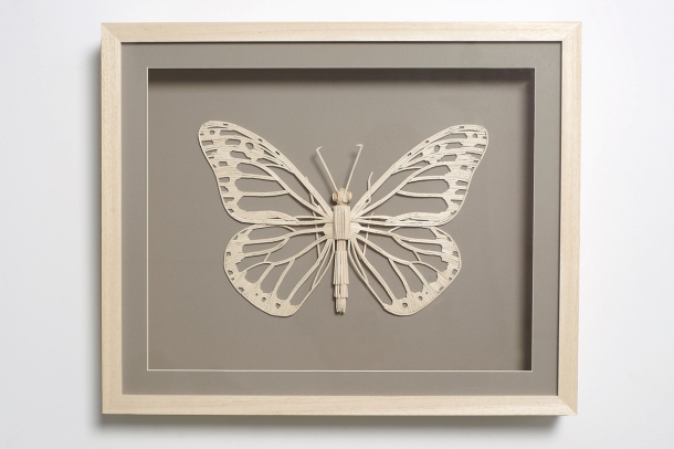 Butterfly made from matchsticks. Art by Kyle Bean, photo by Owen Silverwood.