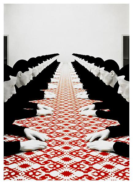 Tischgesellschaft (Company at the Table) 1998. 4 ft. 7 in. x 52 ft. 6 in. x 5 ft. 9 in. Art and Image copyright Katharina Fritsch.