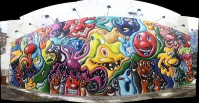 Kenny Sharf's Bowery Wall Mural
