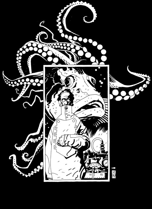 Man with Fish and Octopus. Copyright Mike Mignola. All rights reserved.