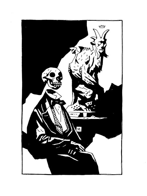 Skeleton Head and Statue. Copyright Mike Mignola. All rights reserved.