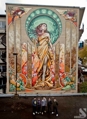 "Known as the ""N.D.G. Project"" (after its location), the giant graffiti artwork is a modern take on ""Our Lady of Grace"" and was inspired by the work of Czech art nouveau painter Alphonse Mucha."