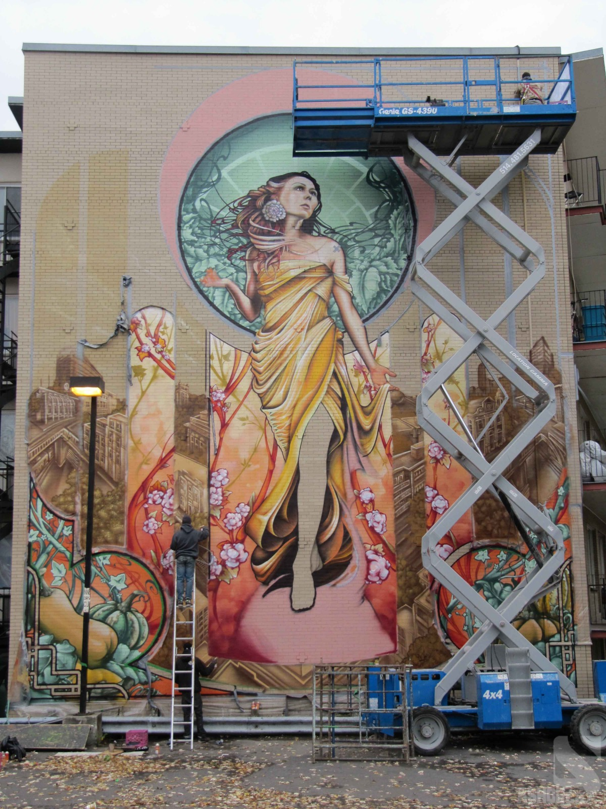 Montreal based graffiti crew a shop s nod to mucha give for Art nouveau mural