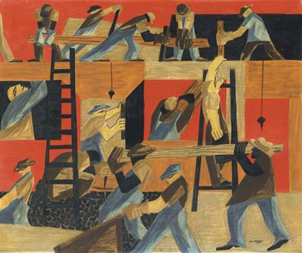 'The Builders' by artist Jacob Lawrence. All rights reserved.