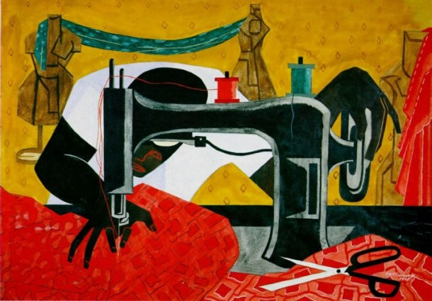 'The Seamstress' by artist Jacob Lawrence. All rights reserved.