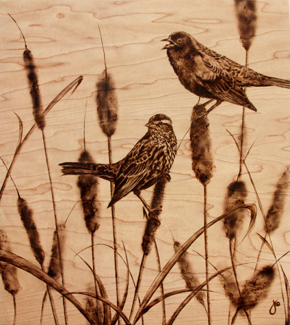 'Tall Tails' pyrography on maple. Art by Julie Bender. All rights reserved.