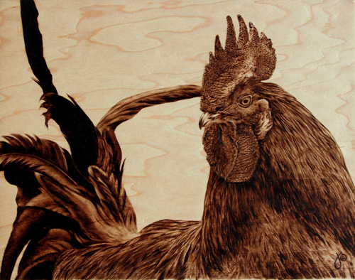 'The Loner' pyrography on maple. Art by Julie Bender. All rights reserved.