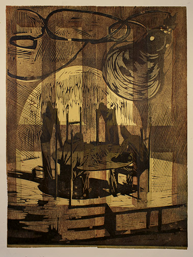"""Behind Closed Doors"" woodblock print by Charles Spitzack. All rights reserved."