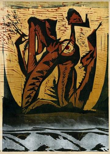 """Headless Figure"" woodblock print by Charles Spitzack. All rights reserved."
