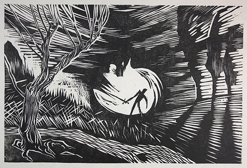 """Man vs. Nature"" woodblock print by Charles Spitzack. All rights reserved."