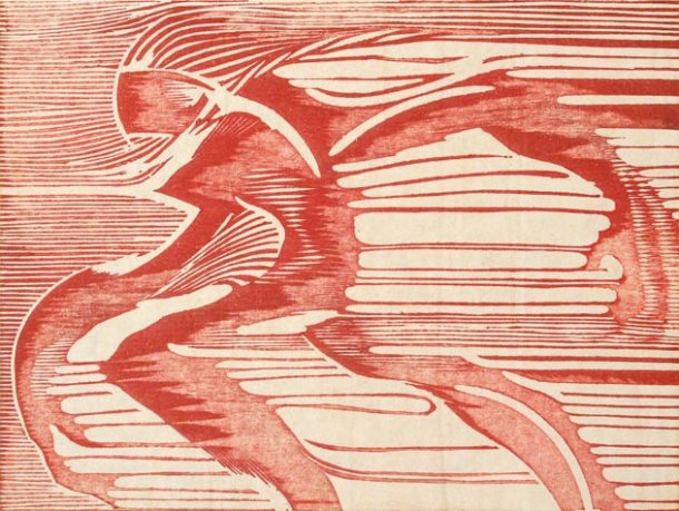 """Into the Wind"" woodblock print by Charles Spitzack. All rights reserved."