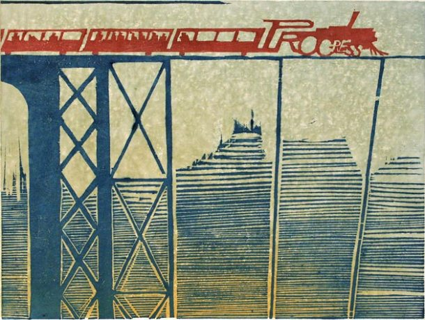 """Unsupported"" woodblock print by Charles Spitzack. All rights reserved."