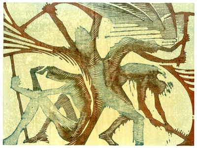 """""""Workie Work"""" woodblock print by Charles Spitzack. All rights reserved."""