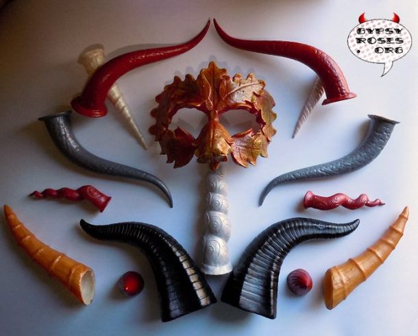 Assortment of Horns and Masks from the Gypsy Rose Etsy Store