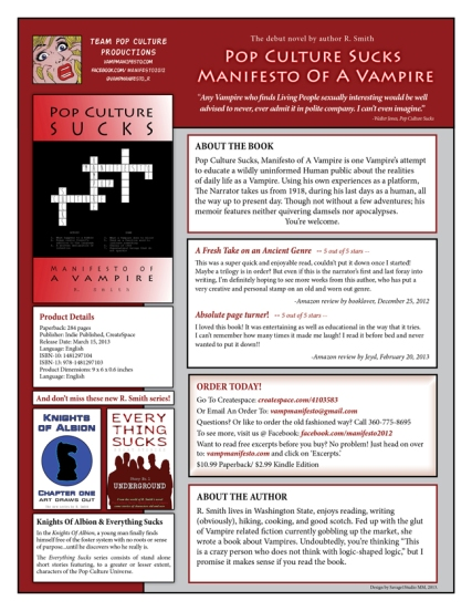 Sell Sheet Design for the novel Pop Culture Sucks, Manifesto Of A Vampire.