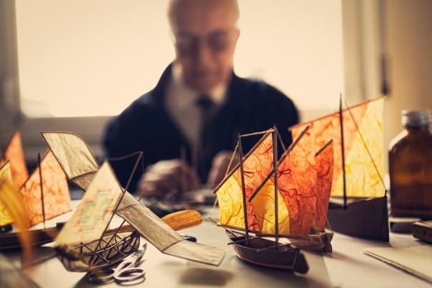 Artist Luigi Prina and his wondrous flying ships.