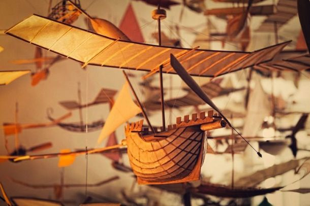 A beautifully crafted flying ship by Artist Luigi Prina.