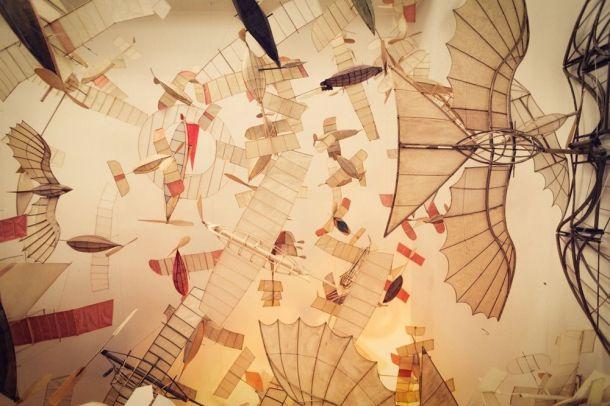 Artist Luigi Prina's crafted flying ships.