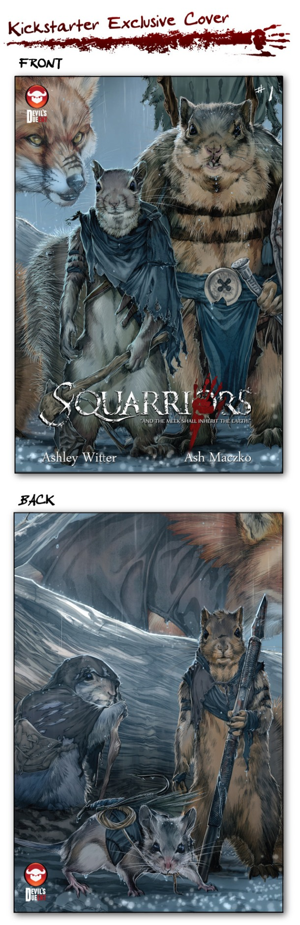Squarriors #1 KS Exclusive Alt Cover. Art by Ashley Witter