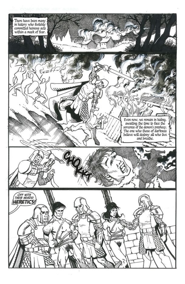 'Legends of Marithia' Page #1. Art by Frank Percy. Letters by HdE .