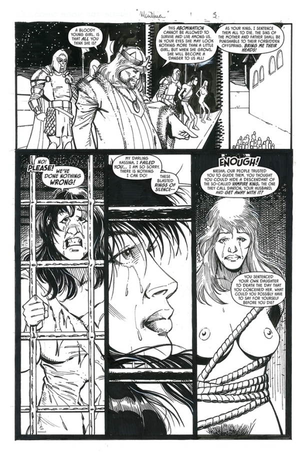 'Legends of Marithia' Page #3. Art by Frank Percy. Letters by HdE .