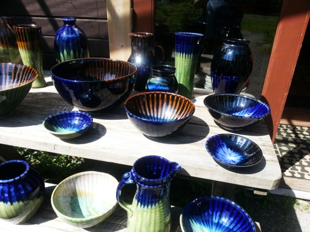 A table of pottery from Orcas Island Pottery. Photo by Shawn Greenleaf.