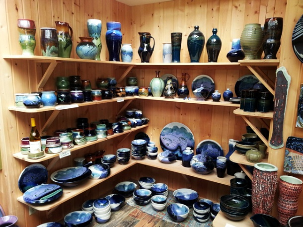 Pottery wall at Orcas Island Pottery. Photo by Shawn Greenleaf.